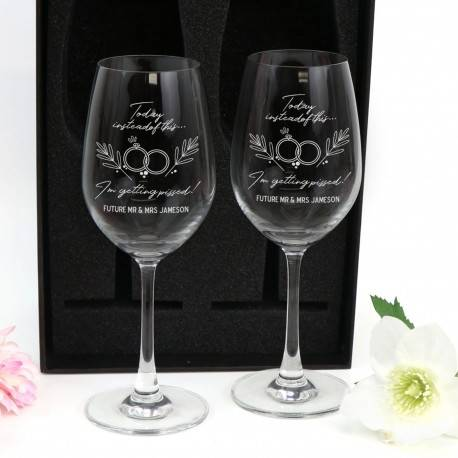 Personalised Double Wine Glass Gift Boxed Wedding Postponed Covid Gift