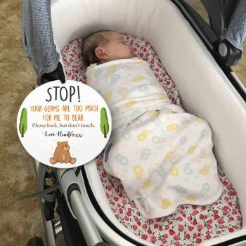 Pram Sign Don't Touch the Baby Full Colour Printed Acrylic