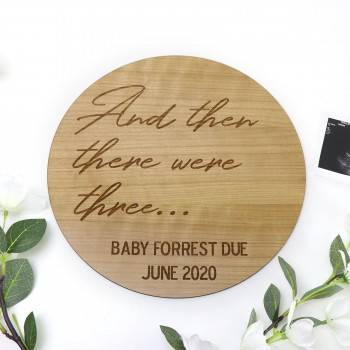 Large Personalised Cherry Timber Pregnancy Announcement Sign