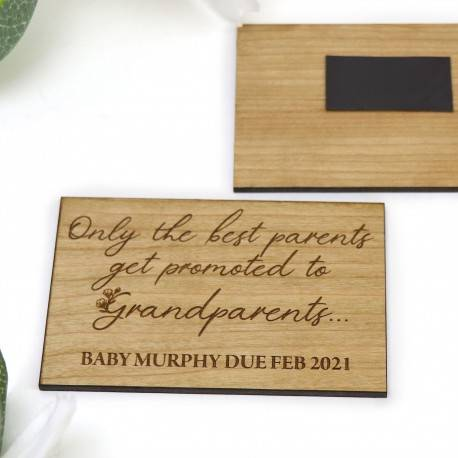 Personalised Engraved Wooden Magnet Grandparent Pregnancy Announcement