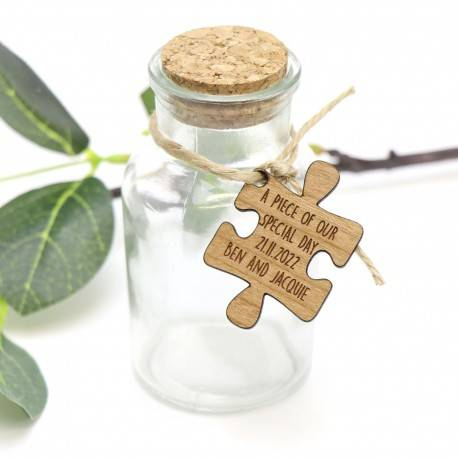 Glass Jar with Cork Lid and Wooden Personalised Puzzle Gift Tag