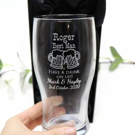 Engraved 570ml Wedding Pint Beer Glass Personalised