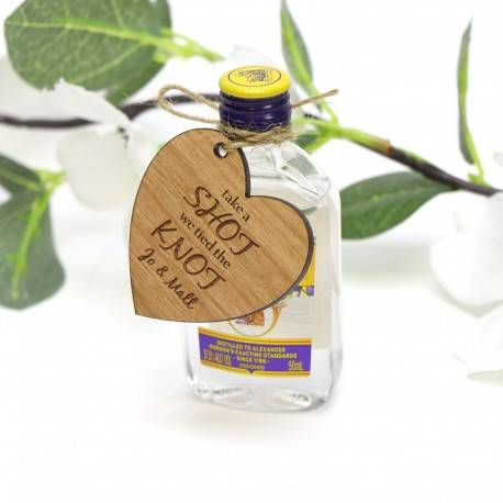 Personalised Heart Shaped Wedding Alcohol Gift Tag Wedding Favour