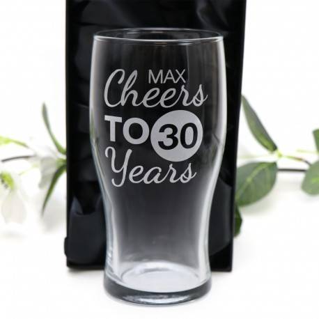 Engraved Birthday Pint Beer Glass 570ml