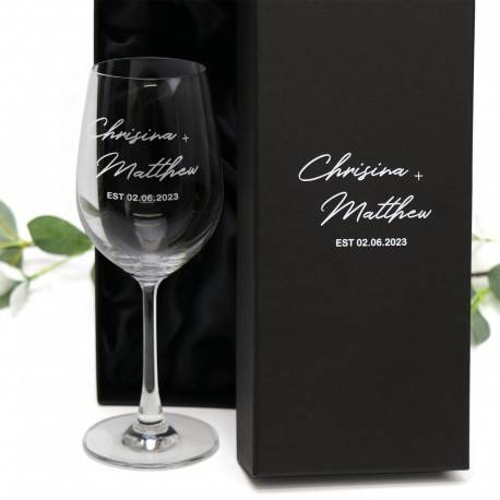 Engraved 350ml Wine Glass Wedding Favour