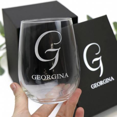 Engraved 500ml Stemless Wine Glass Wedding Favour