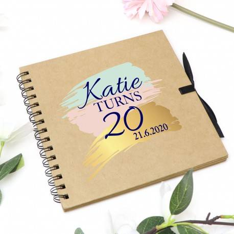 "Personalised Guest Book Kraft Birthday Party Photo Album 12"" x 12"""