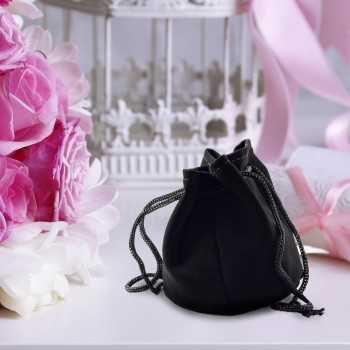 Black Velour Drawstring Pouch 7cmx9cm Favour Packaging