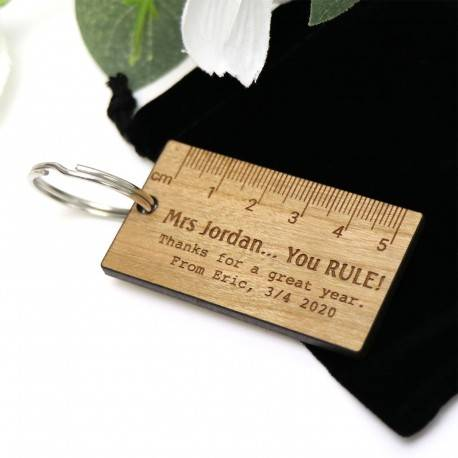 Personalised Rectangle Wooden Keyring with Pouch