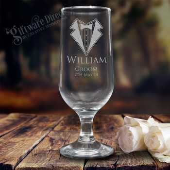engraved footed beer goblet glass for groomsman and best man wedding gift etched