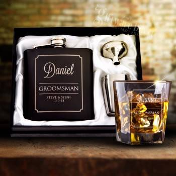 ultimate groomsman gift pack engraved wedding hip flask plus whiskey glass best man