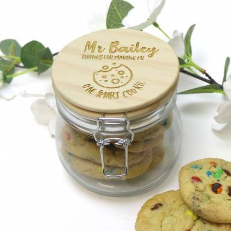 Personalised Teachers Cookie Jar With Wooden Lid End of Term Gift
