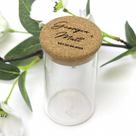 Personalised Glass Canister Jar with Engraved Cork Lid Wedding Favour