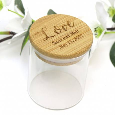 Personalised Glass Jar with Engraved Bamboo Lid Wedding Favour