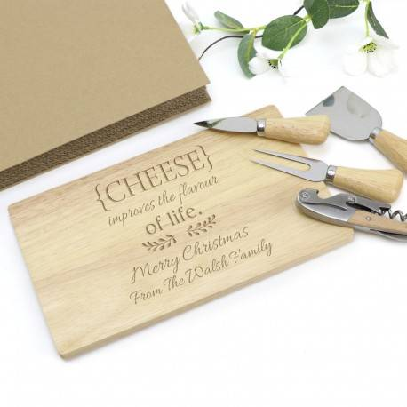 Personalised Engraved Cheese Board with Four Utensils and Gift Box