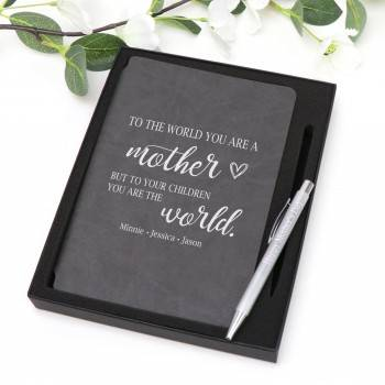 Personalised Notebook with Engraved Pen Mothers Day Gift
