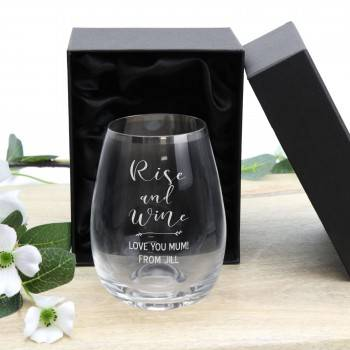 Personalised Stemless Wine Glass with Silver Rim Teachers Gift