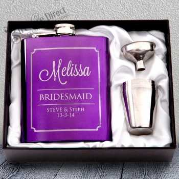 personalised engraved purple hip flask gift - bridesmaid present