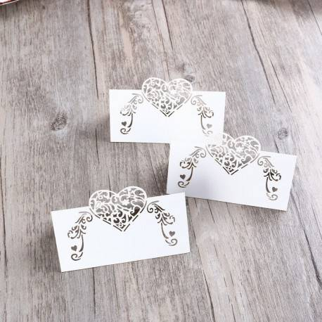 12 Pack of Laser Cut Heart Shaped Pearl Paper Place Cards