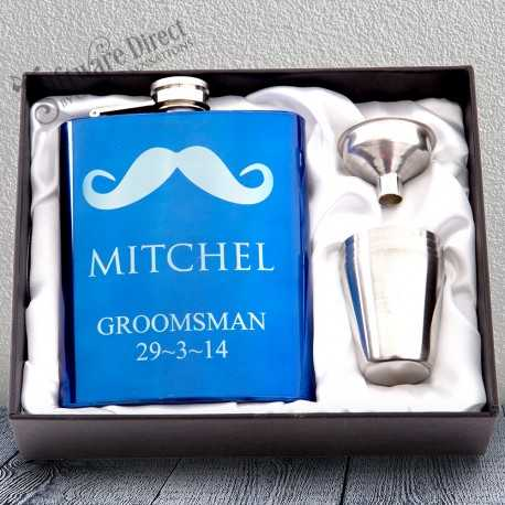 personalised engraved blue hip flask gift - bridesmaid present