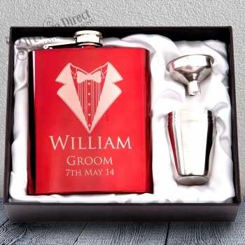 personalised engraved red hip flask gift - groomsman gift