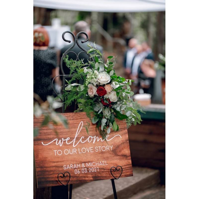 Welcome Love Story Sign Personalised Wedding Sign With Timber Design