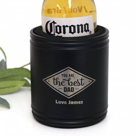 Engraved Black Stainless Steel Stubby Holder Fathers Day