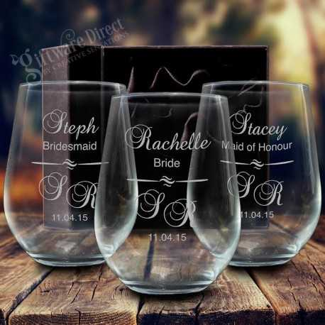 engraved wedding glasses stemless wine glass tumbler for bridesmaid gift