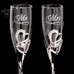 Personalised Rhinestone Heart Wedding Toasting Flutes