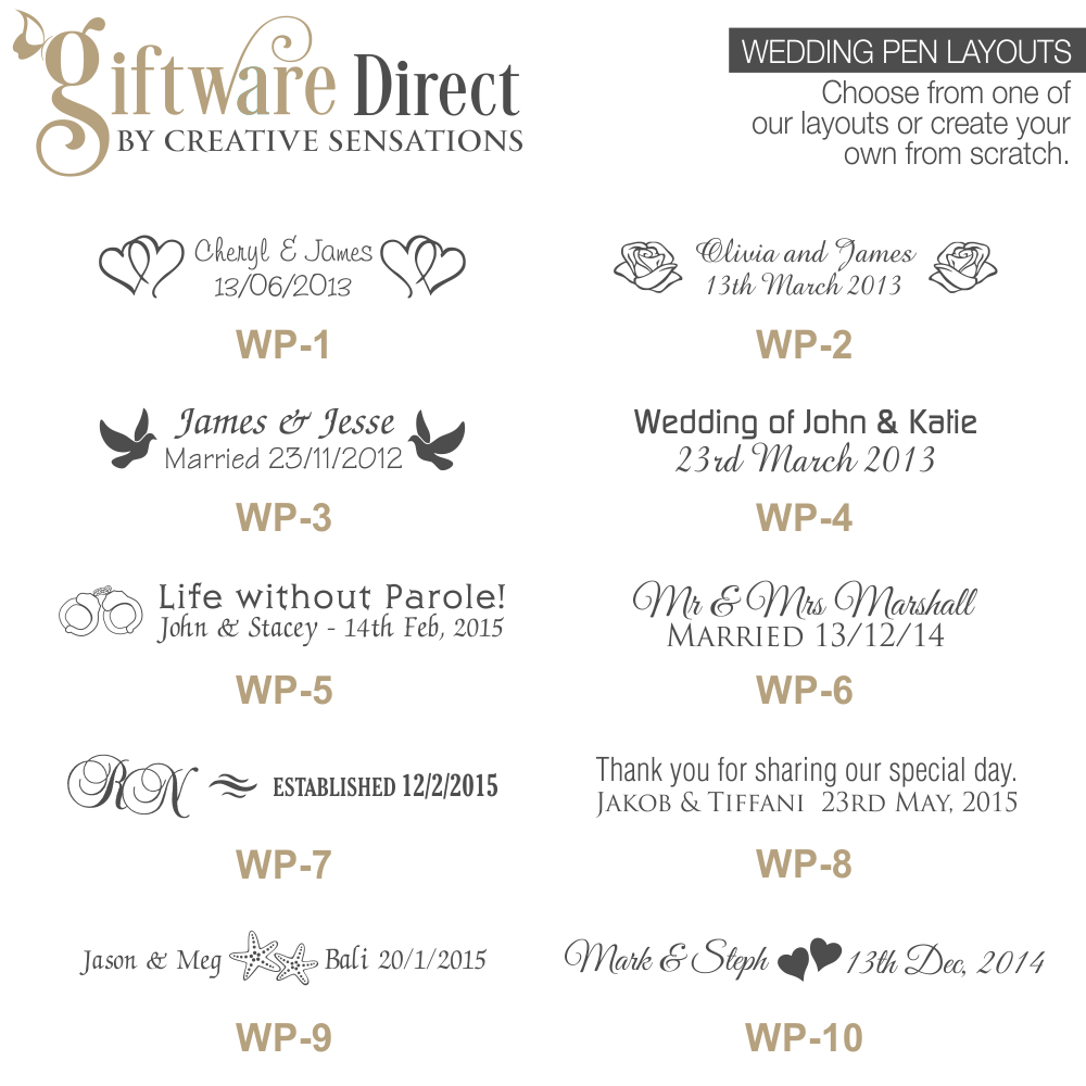 Personalised engraved deluxe metal pen wedding favours australia cheap