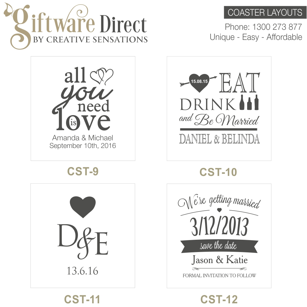 Personalised Engraved Glass Wedding Coasters, Wedding Favours, Cheap