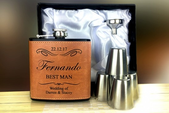 Laser engraved personalised hip flasks groomsman gifts
