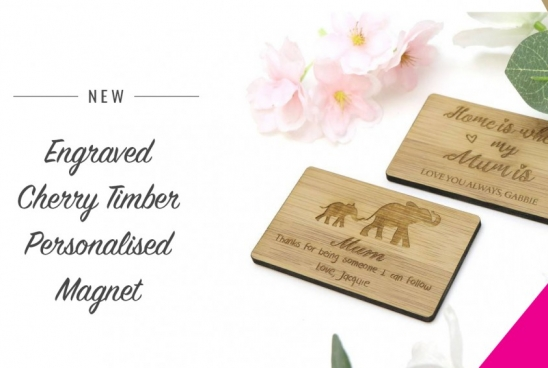 New Engraved Cherry Timber Personalised Magnet