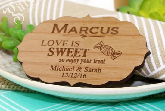 Laser Engraved Wooden Wedding Gifts Invitations Coasters
